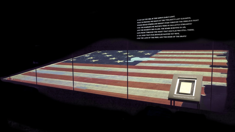 Star-Spangled Banner Manuscript on display in Star-Spangled Banner chamber at the American History Museum.