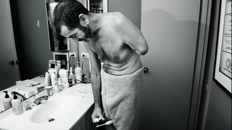 Television journalist, Miles O'brien, who lost an arm after an accident gets ready for his day