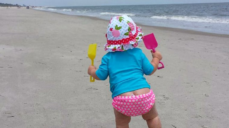 A walk on the beach at 10 months.