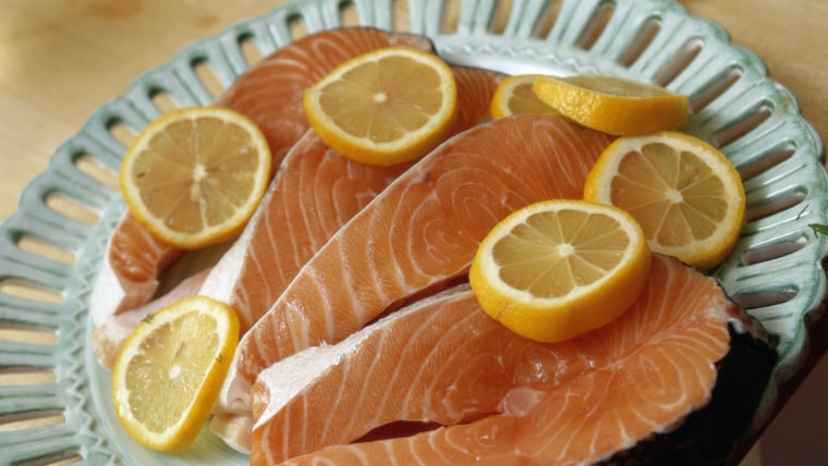 Salmon and Lemons, msnbc stock, getty images, Food, Freshness, Seafood, Food And Drink, Horizontal, Indoors, Close-up, Plate, Fish, Slice, Salmon, Lem...