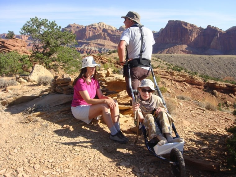 The Geier family at Fruita Campground Overlook, Capitol Reef National Park August 2012.