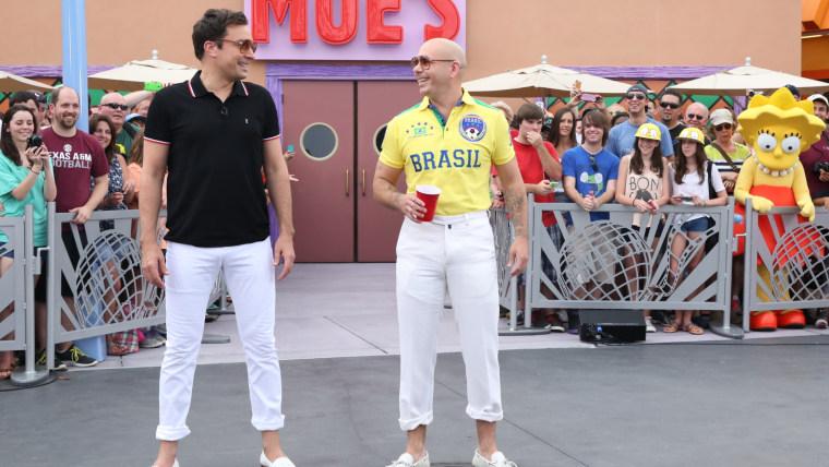 Image: Jimmy Fallon and Pitbull