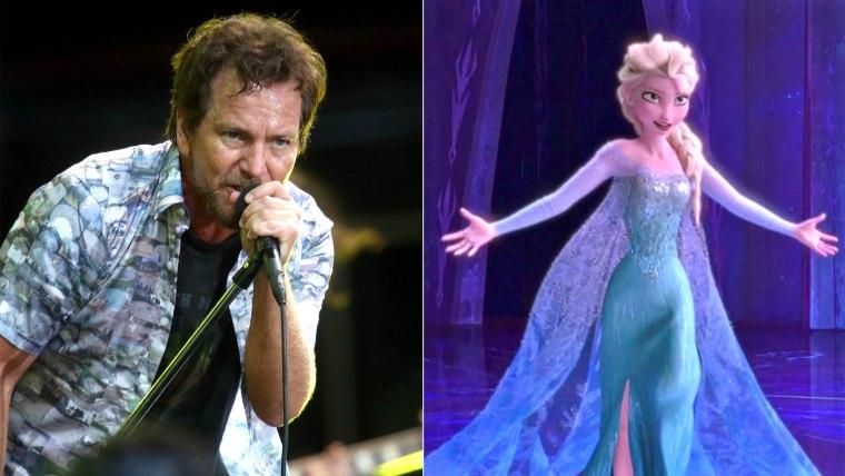 """Image: Eddie Vedder and Elsa from Disney's """"Frozen."""""""