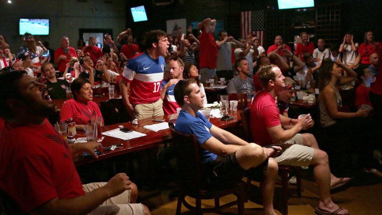 Fans react while watching the United States play against Potugal in a televised World Cup soccer game at Fishale Taphouse and Grill on Sunday, June 22...