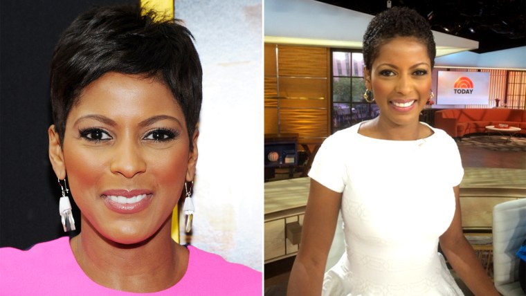 Tamron, with her usual 'do (left), and wearing her natural hair Thursday (right).