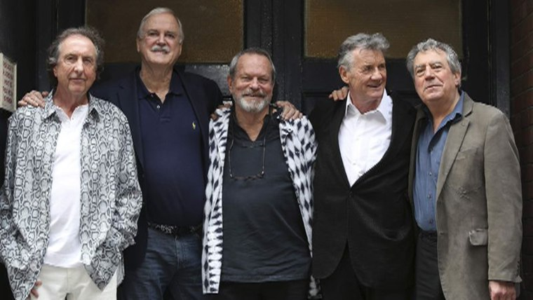 Members of British comedy troupe Monty Python (L-R) Eric Idle, John Cleese, Terry Gilliam, Michael Palin and Terry Jones pose for a photograph during ...