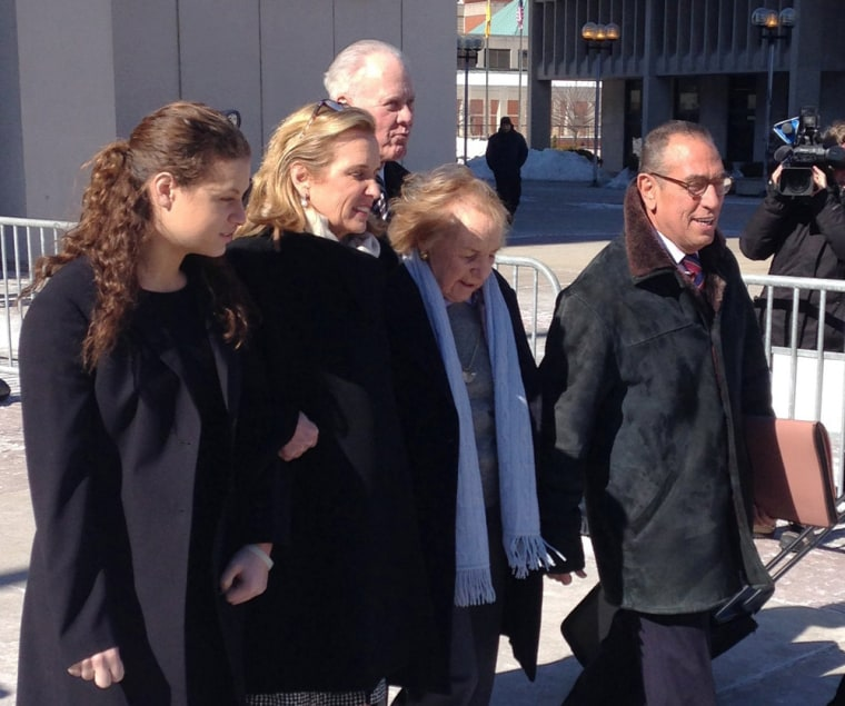 Kerry Kennedy, second from left, walks with her mother, Ethel Kennedy, third from left, as she leaves the Westchester County Courthouse, Friday, Feb. ...