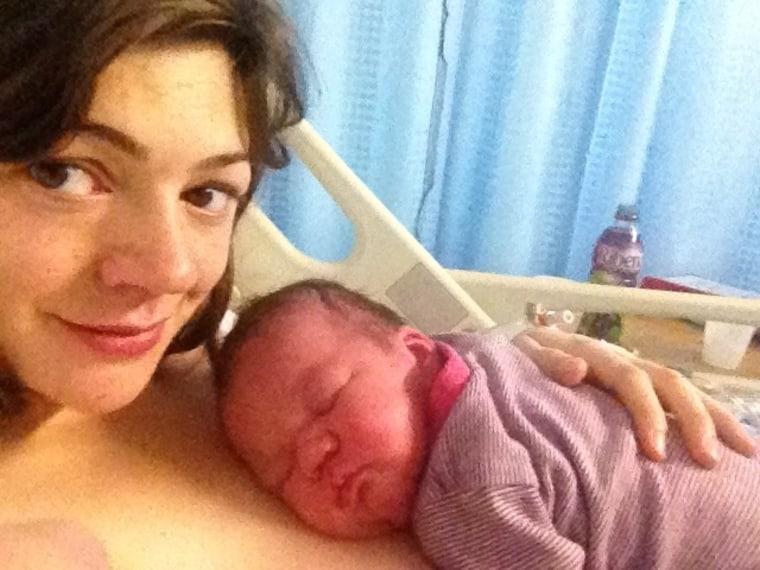 Hattie Garlick and newborn daughter Frida.