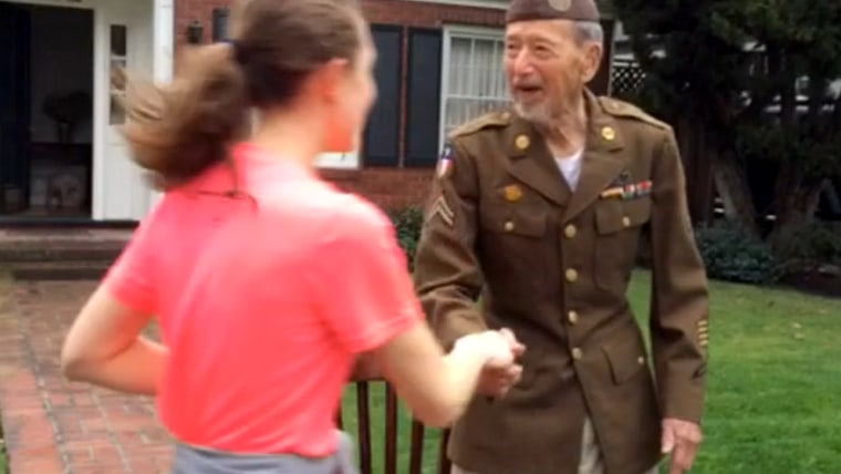 World War II veteran Joe Bell was honored by runners at a charity race in San Jose on Sunday after he came outside his home dressed in his uniform to cheer them on.
