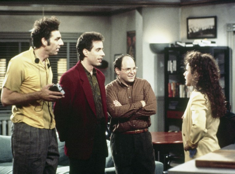 SEINFELD -- Pictured: (l-r) Michael Richards as Cosmo Kramer, Jerry Seinfeld as Jerry Seinfeld, Jason Alexander as George Costanza, Julia Louis-Dreyfu...