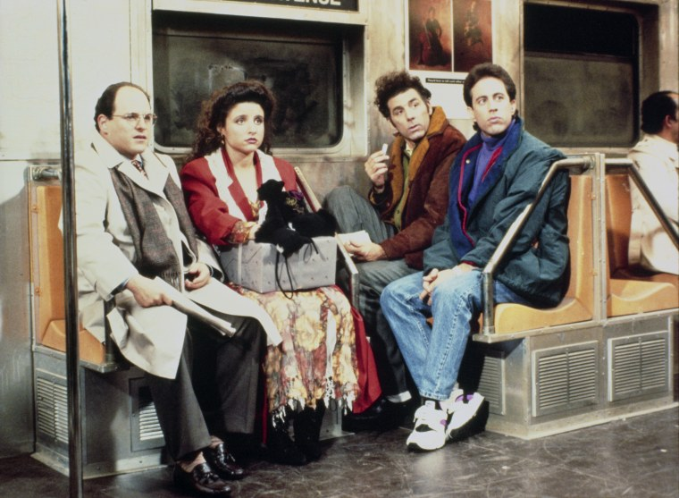 SEINFELD -- Pictured: (l-r) Jason Alexander as George Costanza, Julia Louis-Dreyfus as Elaine Benes, Michael Richards as Cosmo Kramer, Jerry Seinfeld ...