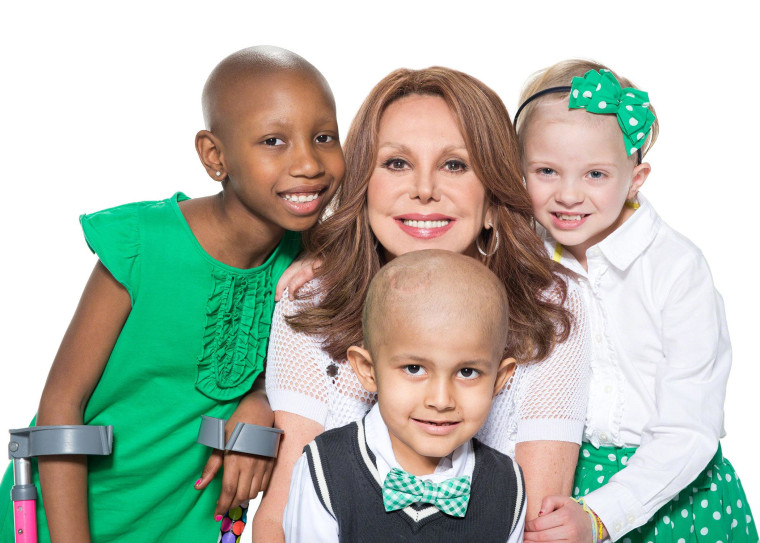 Marlo Thomas and a few of the many children of St. Jude; Pashience, Ian and Campbell.