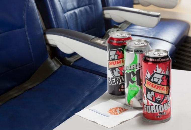 Surly beer on Sun Country Airlines