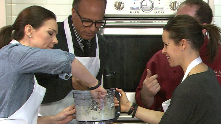 Lester, Erica and Jenna don aprons with chef Joel Gamoran to explore cooking with healthier ingredients.