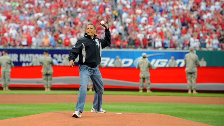 ST. LOUIS, MO - JULY 14:  U.S. President Barack Obama throws out the first pitch before the 2009 All-Star Game at Busch Stadium July 14, 2009 in St. L...