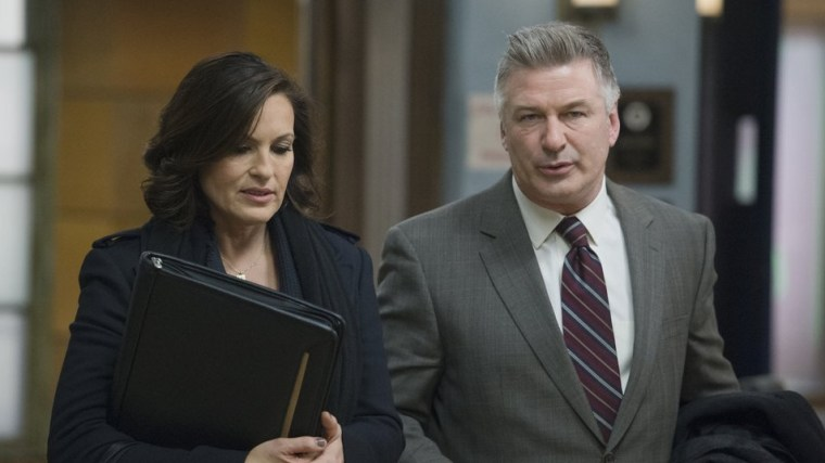 "Mariska Hargitay and Alec Baldwin filming ""Law & Order: SVU."""