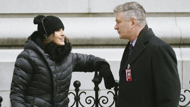 "Mariska Hargitay and Alec Baldwin on the set of ""Law & Order: SVU."""