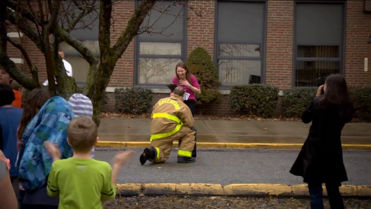 Firefighter staged a fake drill to propose to his girlfriend.