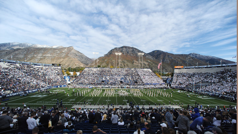 PROVO, UT - OCTOBER 12:  View of LaVell Edwards Stadium during ceremonies before the game between the BYU Cougars and the Georgia Tech Yellow Jackets ...