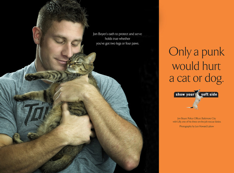The ad that starred Jon Boyer with Lilly, one of his rescue kittens.