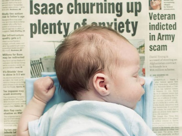 New Idea for Baby Photos: Baby on a Newspaper