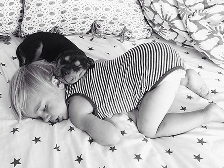 Momma's Gone City Posts Photos of Dog and Baby Napping