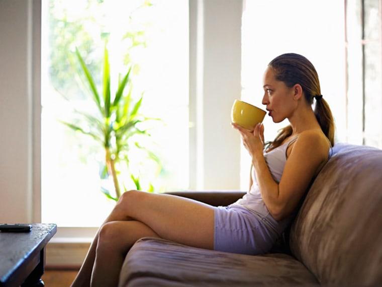woman having tea