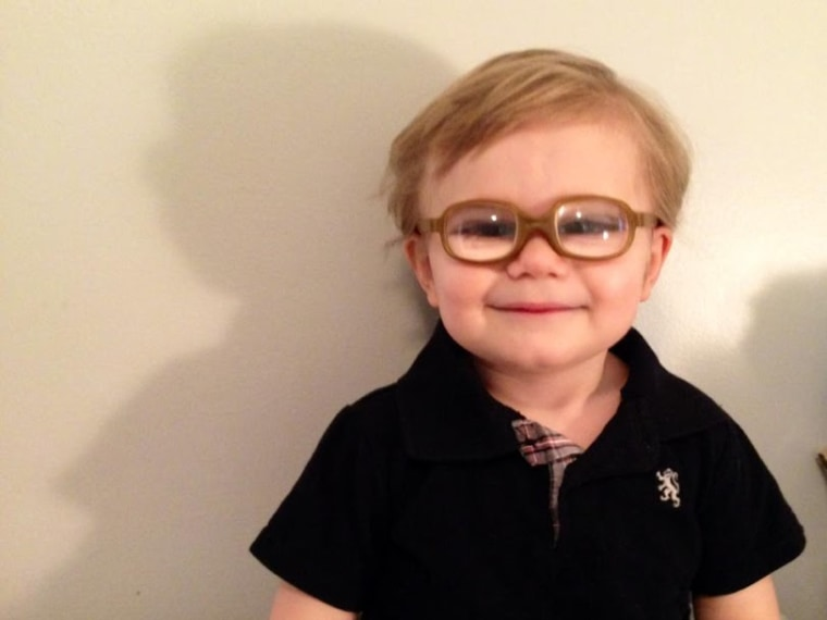 Garrett, 2, was born with cataracts in both eyes.
