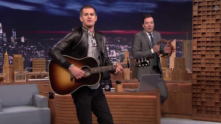 """Image: Andrew Garfield and Jimmy Fallon on """"Tonight Show"""""""