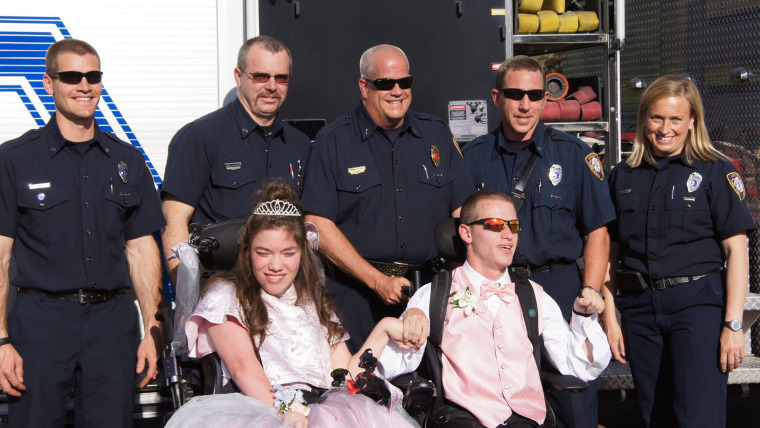 When Arvada Fire Department firefighters learned that Kelsie Levad and AJ Novotny couldn't find a ride to accommodate their two wheelchairs, they stepped in to help.