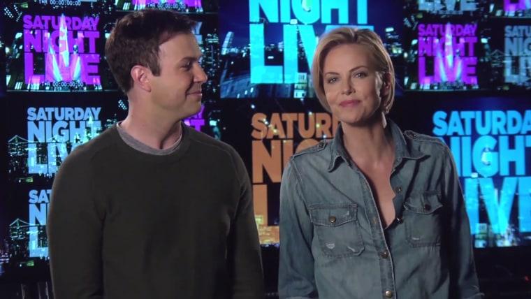 "Taran Killam and Charlize Theron tease ""Saturday Night Live"""
