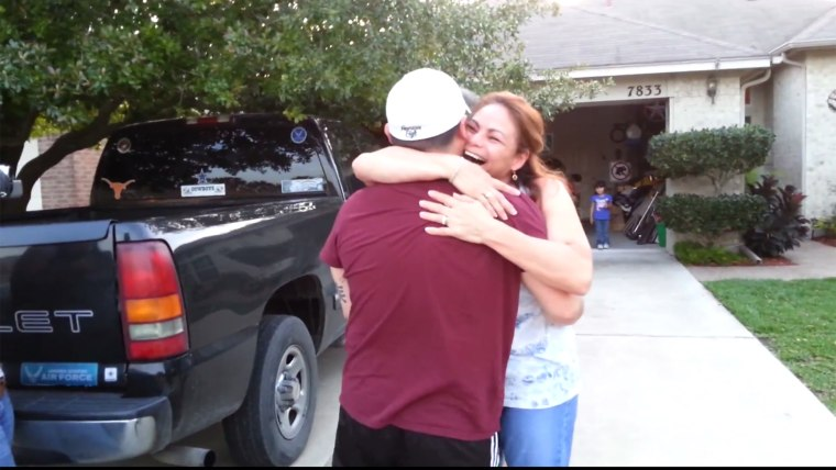Happy mom surprised on Mother's Day