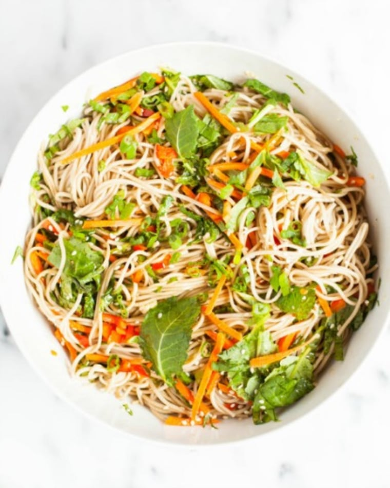 Soba noodle salad with rainbow vegetables