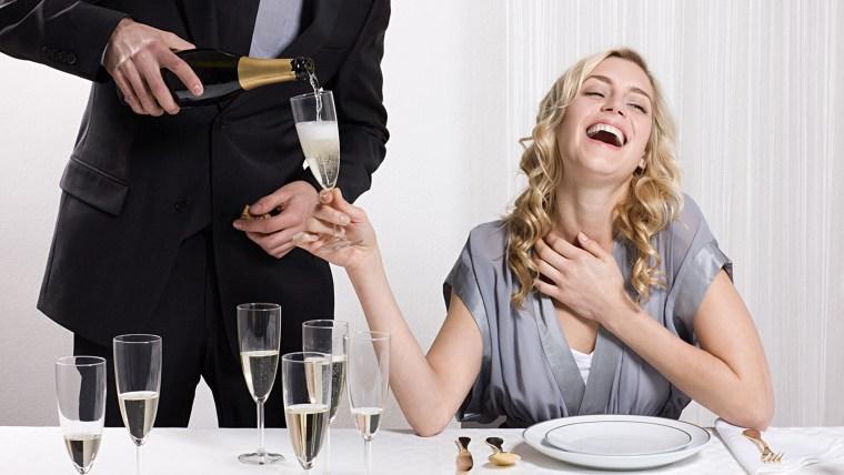 waiter, pour, champagne, wedding, guest, drunk, drink