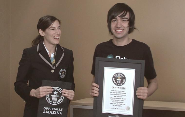 Brazilian teenager Marcel Fernandes broke the Guinness World Record for texting.