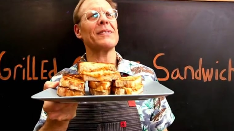 Alton Brown makes an epic grilled cheese sandwich.