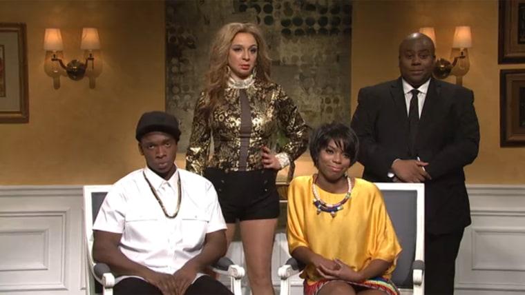 Jay Pharoah, Maya Rudolph, Sasheer Zamata and Keenan Thompson (as the bodyguard) poked fun at the controversy Saturday on 'SNL.'
