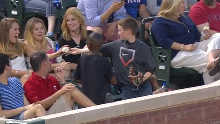 Austin Chaney, a 10-year-old from North Texas, pulled a switcheroo with a baseball that had the ladies swooning at a Texas Rangers game on Saturday.