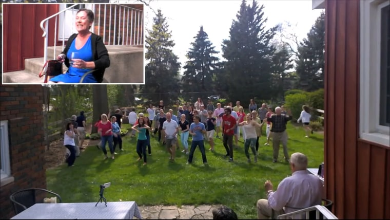 Amy Wagner was surprised by a flash mob of 50 of her loved ones.