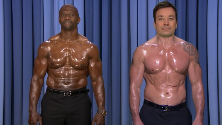 """Image: Terry Crews and Jimmy Fallon on """"The Tonight Show."""""""