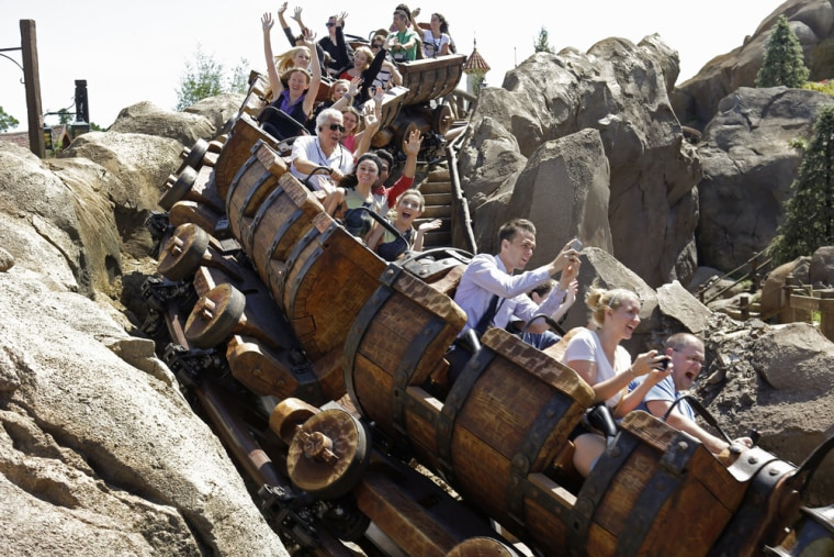 The new Seven Dwarfs Mine Train roller coaster opens May 28 at the Magic Kingdom at Walt Disney World in Lake Buena Vista, Fla.