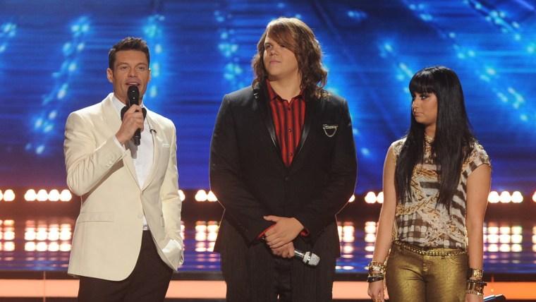 "Image: Ryan Seacrest, Caleb Johnson and Jena Irene on ""American Idol."""