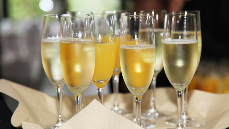 Flutes of chilled white sparkling wine
