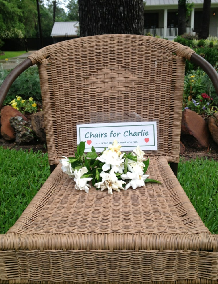 Flowers in a chair for cancer patient Charlie George