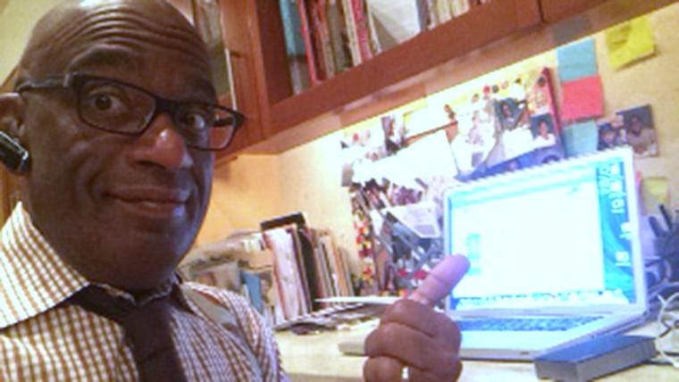 Al Roker checking the Internet to get his morning started.