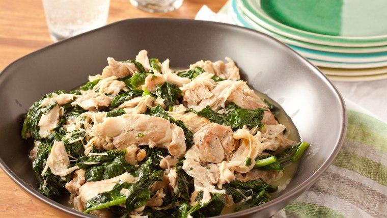 Coconut-milk-braised chicken and spinach