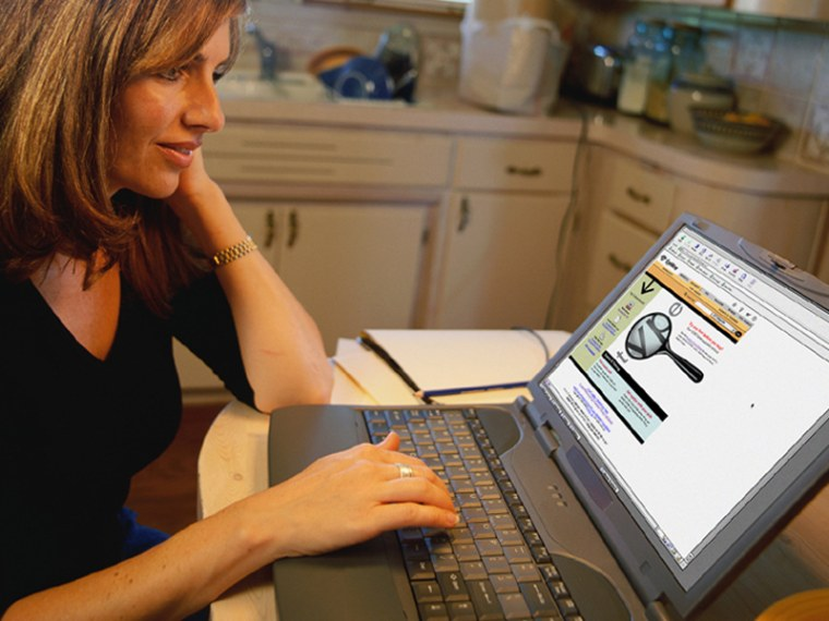 If you work from home, or manage employees who do, avoid these common mistakes.  Woman at computer on the internet in her kitchen.  If you work from home, or manage employees who do, avoid these common mistakes.