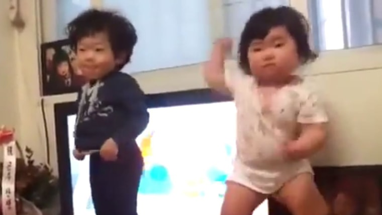 Baby girl and boy dancing in viral video