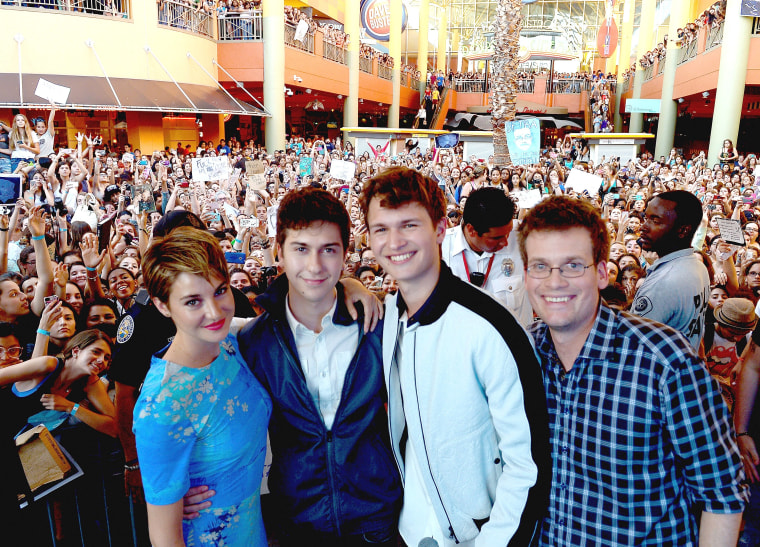 MIAMI, FL - MAY 06:  (L-R) Shailene Woodley, Nat Wolff, Ansel Elgort and John Green attends the The Fault In Our Stars Miami Fan Event at Dolphin Mall...