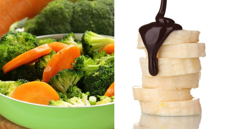 Eating healthy with your microwave: steamed vegetables and fruit with melted chocolate